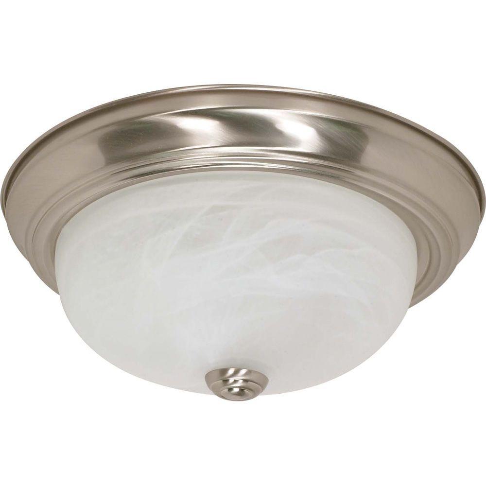 Elektra 2-Light Brushed Nickel Flush Mount with Alabaster Glass