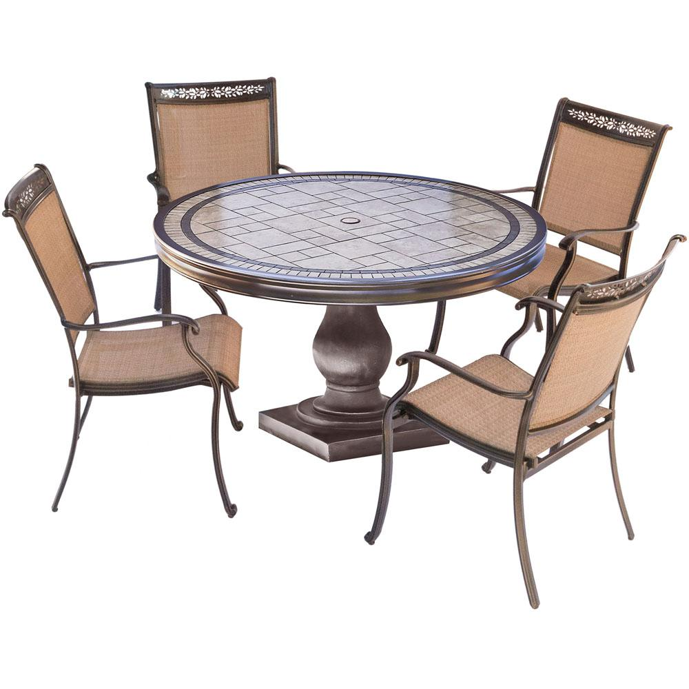 Hanover Fontana 5 Piece Aluminum Round Outdoor Dining Set With Tile Top  Table