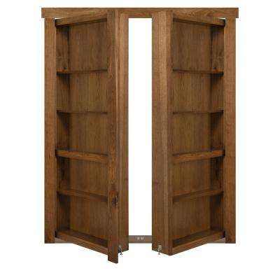 72 in. x 80 in. Flush Mount Assembled Hickory Medium Brown Stained Universal Solid Core Interior French Bookcase Door