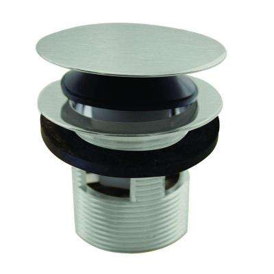1-1/2 in. NPSM Integrated Overflow Round Tip-Toe Bath Drain in Satin Nickel