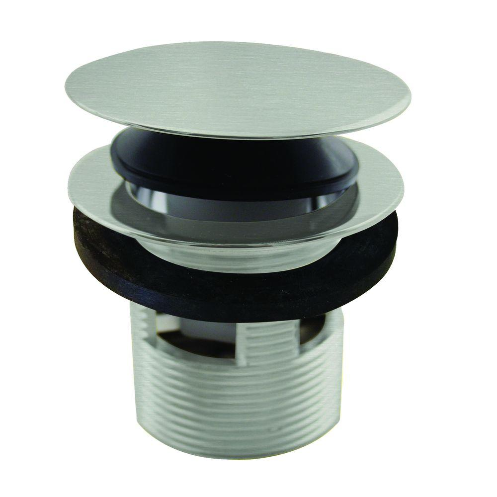 Westbrass 1-1/2 in. NPSM Integrated Overflow Round Tip-Toe Bath Drain in Satin Nickel