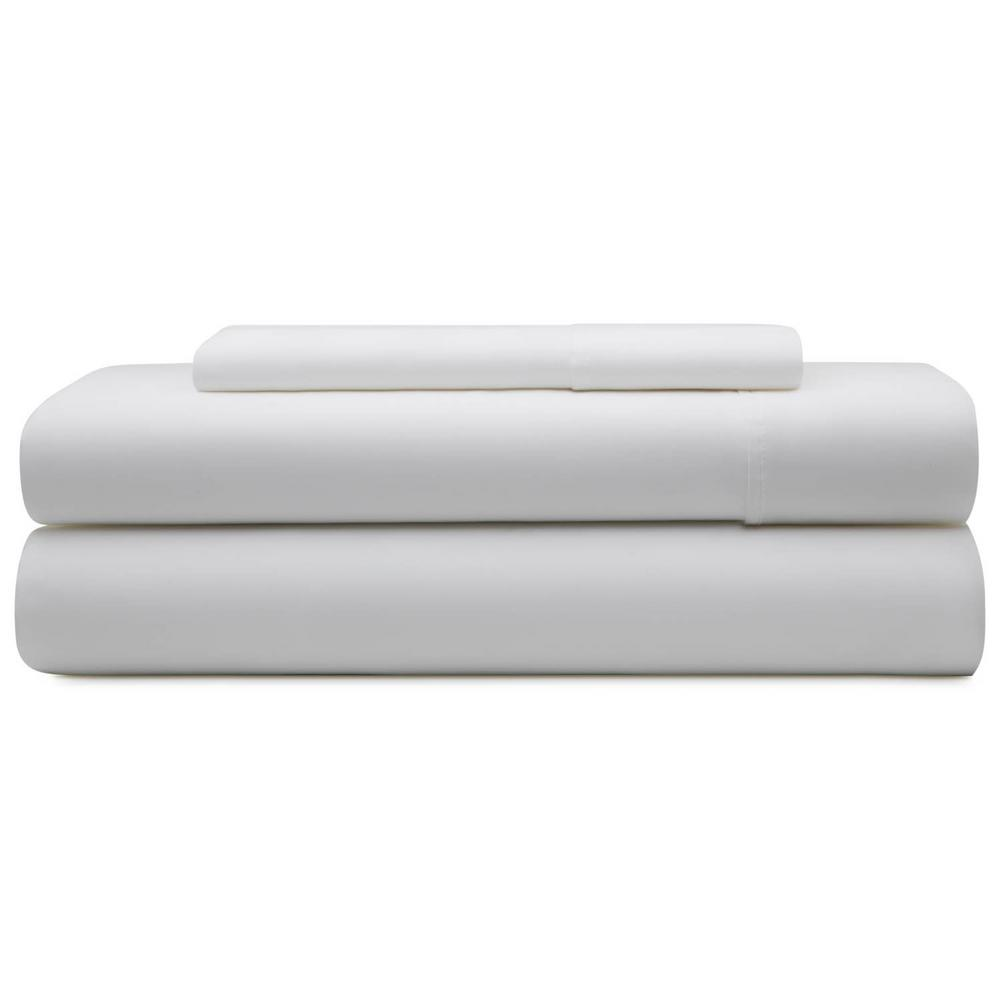 3-Piece White Microfiber Twin Sheet Set