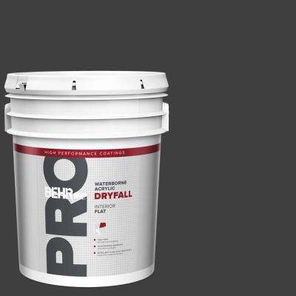 5 gal. Black Flat Waterborne Acrylic Dryfall Interior Paint