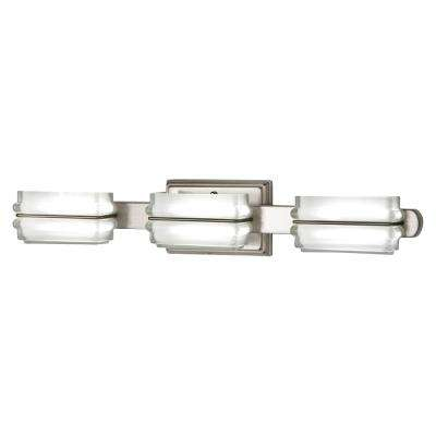 40-Watt Equivalent 3-Light Brushed Nickel Integrated LED Vanity Light with Clear Etched Glass