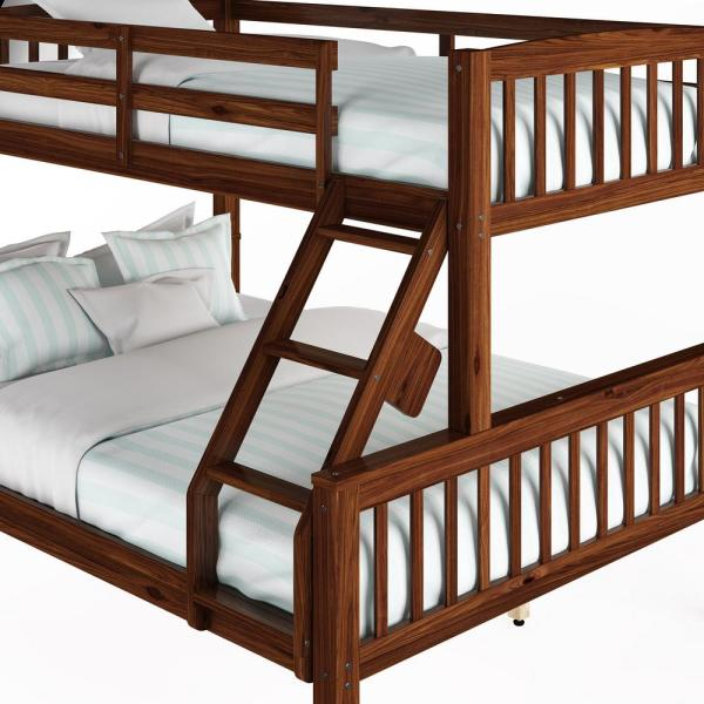 Corliving Dakota Walnut Brown Twin Single Over Full Double Bunk Bed Bdn 292 B The Home Depot