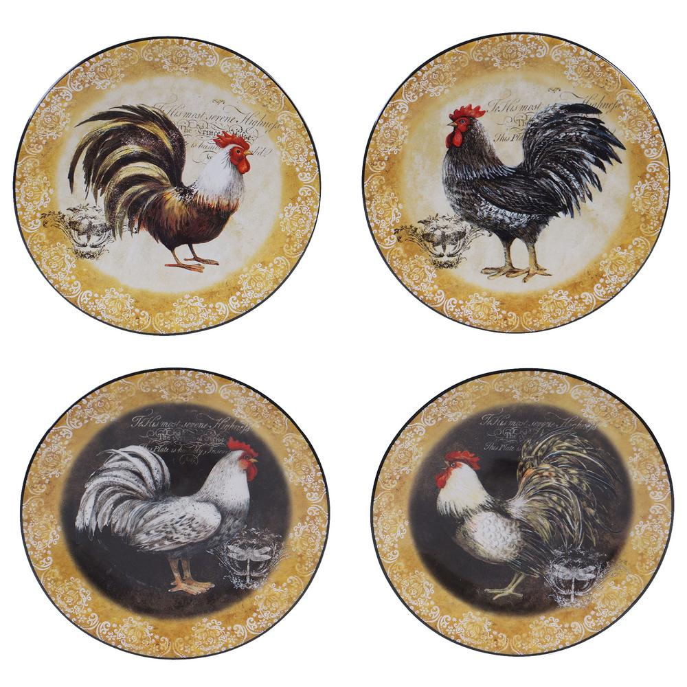 certified international vintage rooster in canape plate set of 4 57490set 4 the home depot. Black Bedroom Furniture Sets. Home Design Ideas