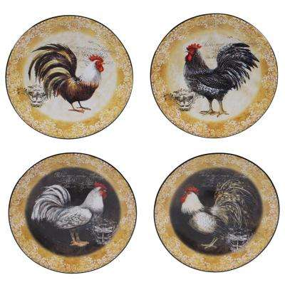 Vintage Rooster 6.25 in. Canape Plate (Set of 4)