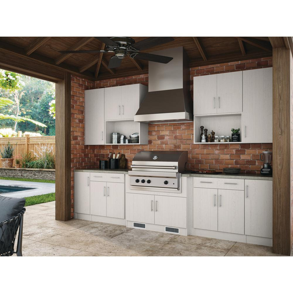 WeatherStrong Assembled 18x84x24 in. Miami Outdoor Kitchen Utility Cabinet  with 2 Doors Right in Radiant White