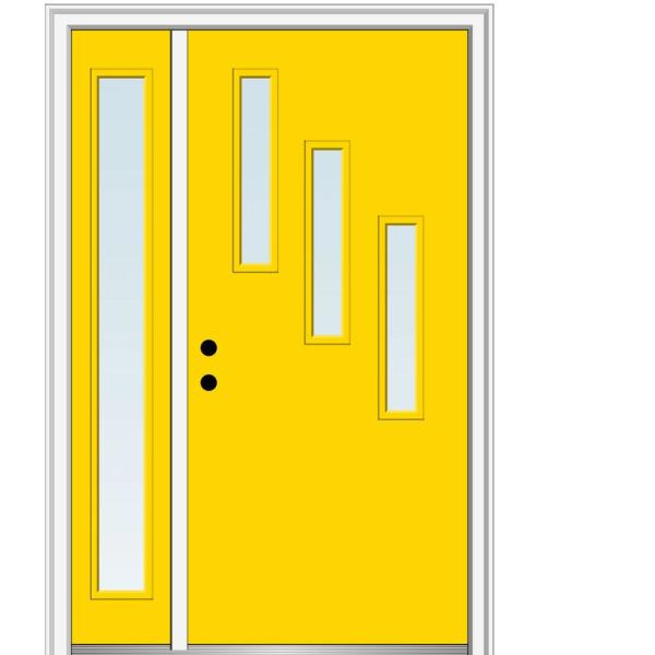 Mmi Door 51 In X 81 75 In Davina Low E Glass Right Hand 3 Lite Modern Painted Fiberglass Smooth Prehung Front Door W Sidelite Z0346756r The Home Depot