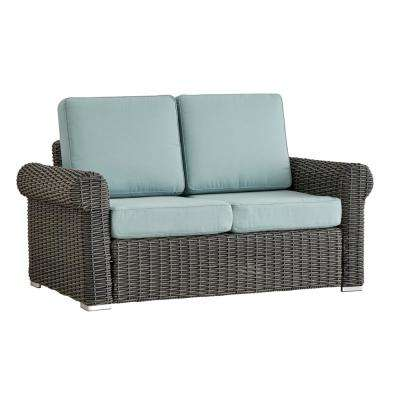 Camari Charcoal Rolled Arm Wicker Outdoor Loveseat with Blue Cushion