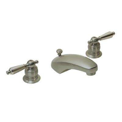 Symmetrix 8 in. Widespread 2-Handle Bathroom Faucet with Drain Assembly in Satin Nickel