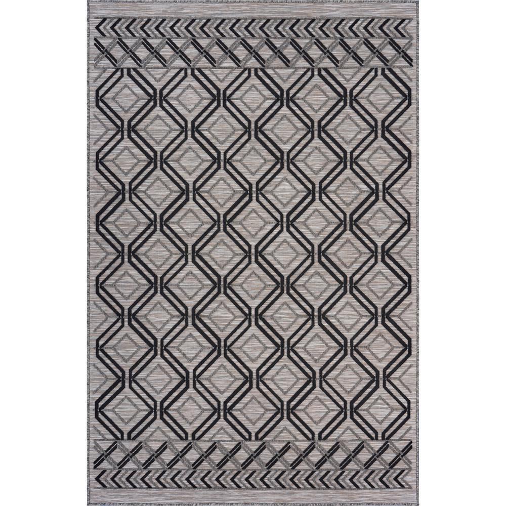 Retreat Black/Cream 7 ft. 9 in. x 9 ft. 9 in. Geometric Graphic Indoor/Outdoor Area Rug