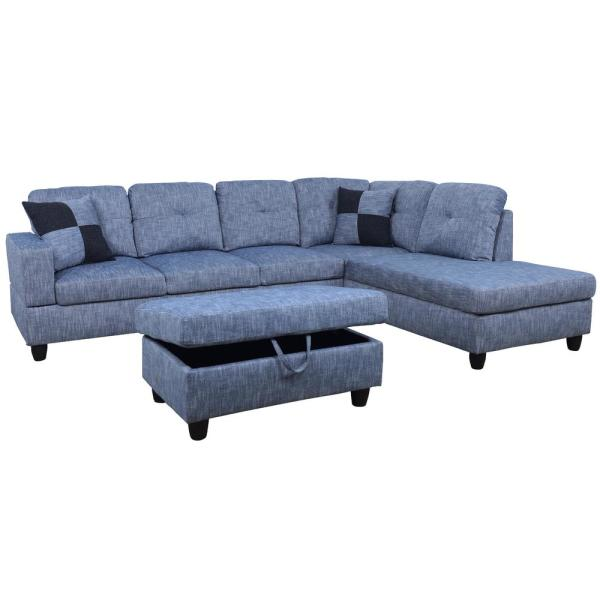 Blue Left Chaise Sectional with Storage Ottoman F127A