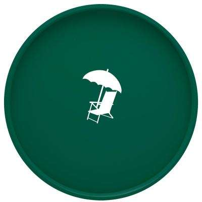 Kasualware Beach Chair 14 in. Round Serving Tray in Green