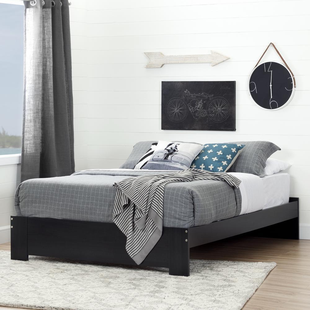 Reevo Black Onyx Queen-Size Platform Bed