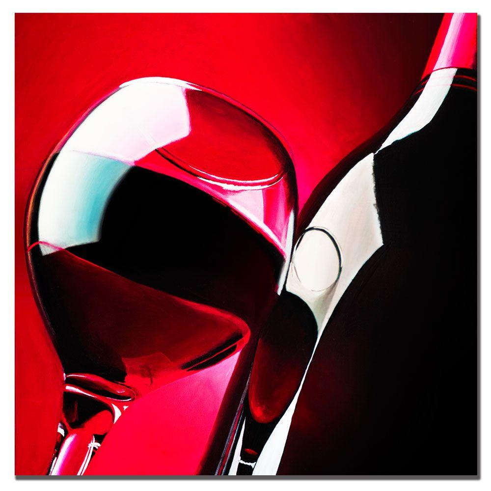 Trademark Fine Art 18 in. x 18 in. Red Wine by Roderick Stevens Canvas Art