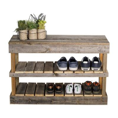 Reclaimed Barnwood Natural Shoe Rack Bench