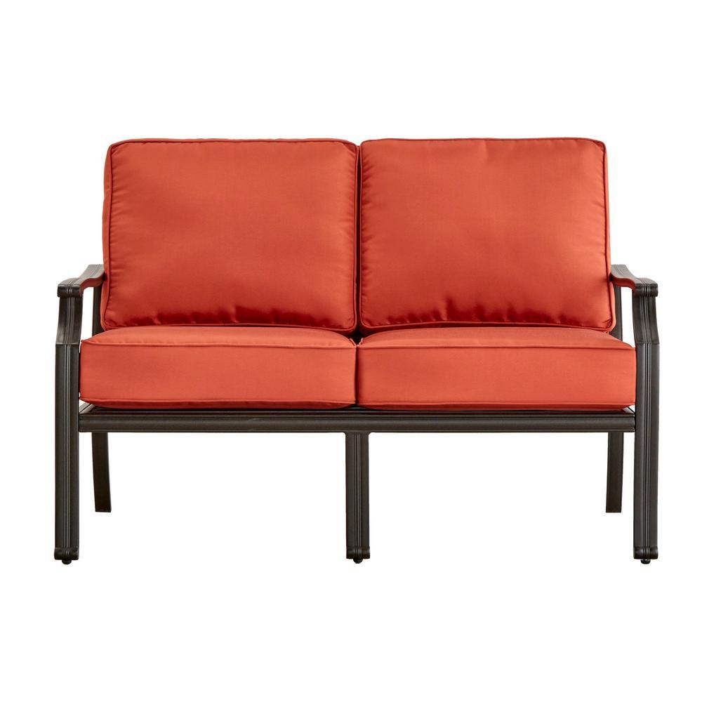 Thoren Aluminum Outdoor Loveseat with Red Cushion