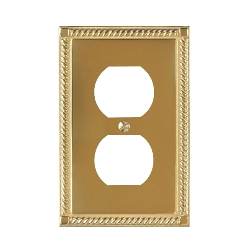 Amerelle Georgian 1 Duplex Wall Plate - Bright Brass