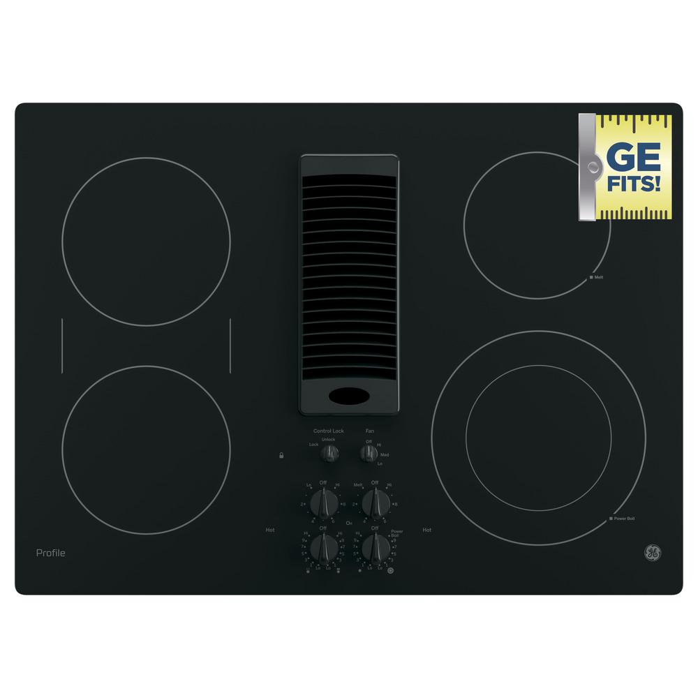Attractive GE Profile 30 In. Radiant Electric Downdraft Cooktop In Stainless Steel  With 4 Elements With Rapid Boil Technology PP9830SJSS   The Home Depot