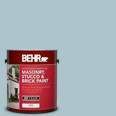 1-gal. #MS-71 Pacific Blue Flat Interior/Exterior Masonry, Stucco and Brick Paint