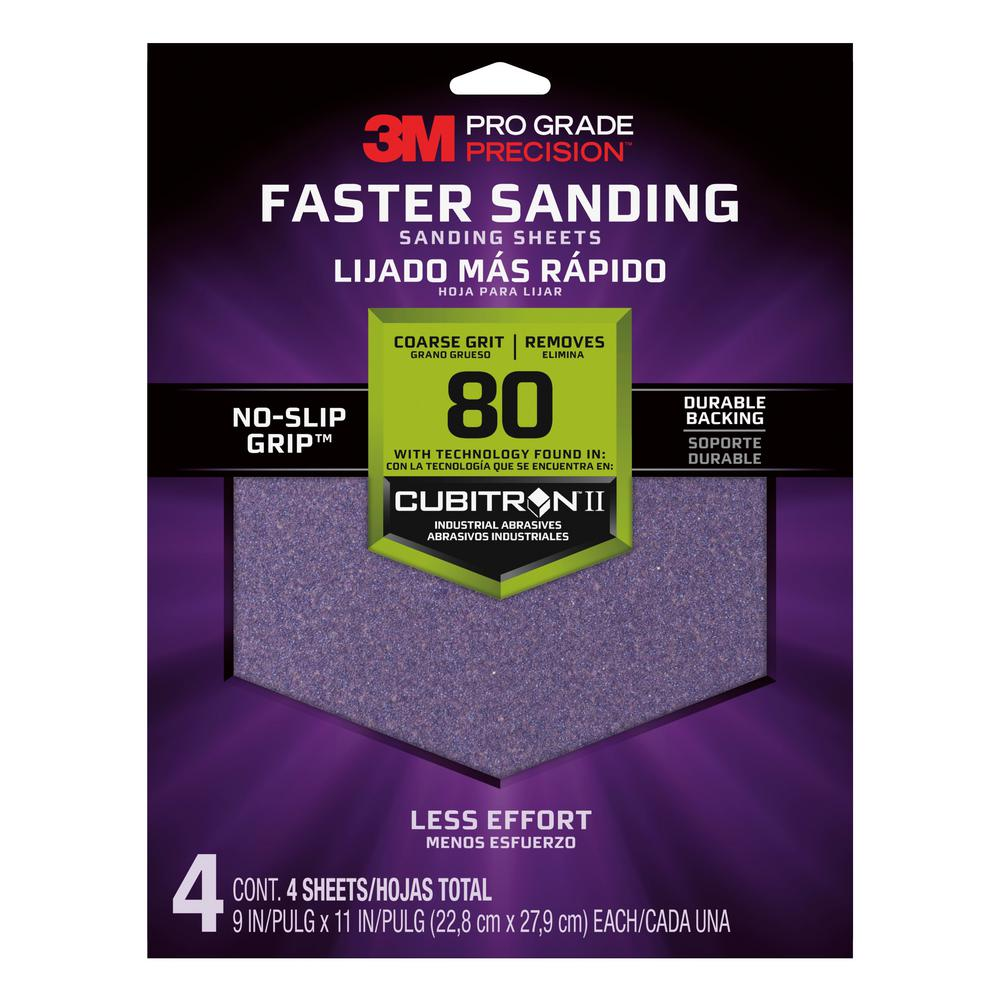 3M Pro Grade Precision 9 in. x 11 in. 80 Grit Coarse Advanced Sanding Sheets (4-Pack)