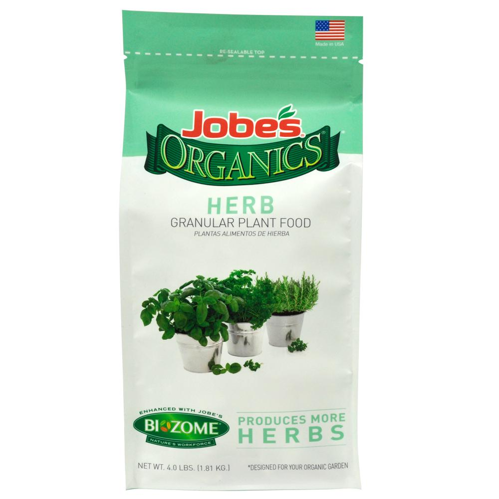 Jobe's Organics 4 lb Organic Granular Herb Plant Food Fertilizer with  Biozome, OMRI Listed