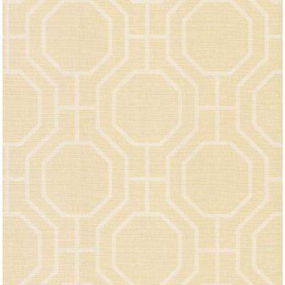 Madison Florals Yellow Geometric Wallpaper Sample