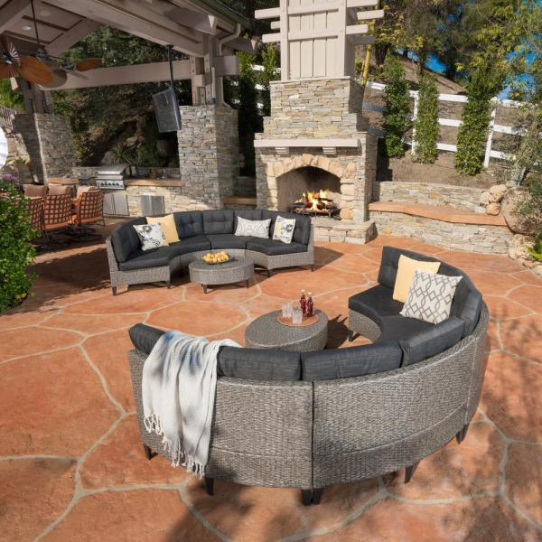 Manteo Mixed Black 10-Piece Wicker Patio Conversation Sectional Seating Set with Dark Grey Cushions