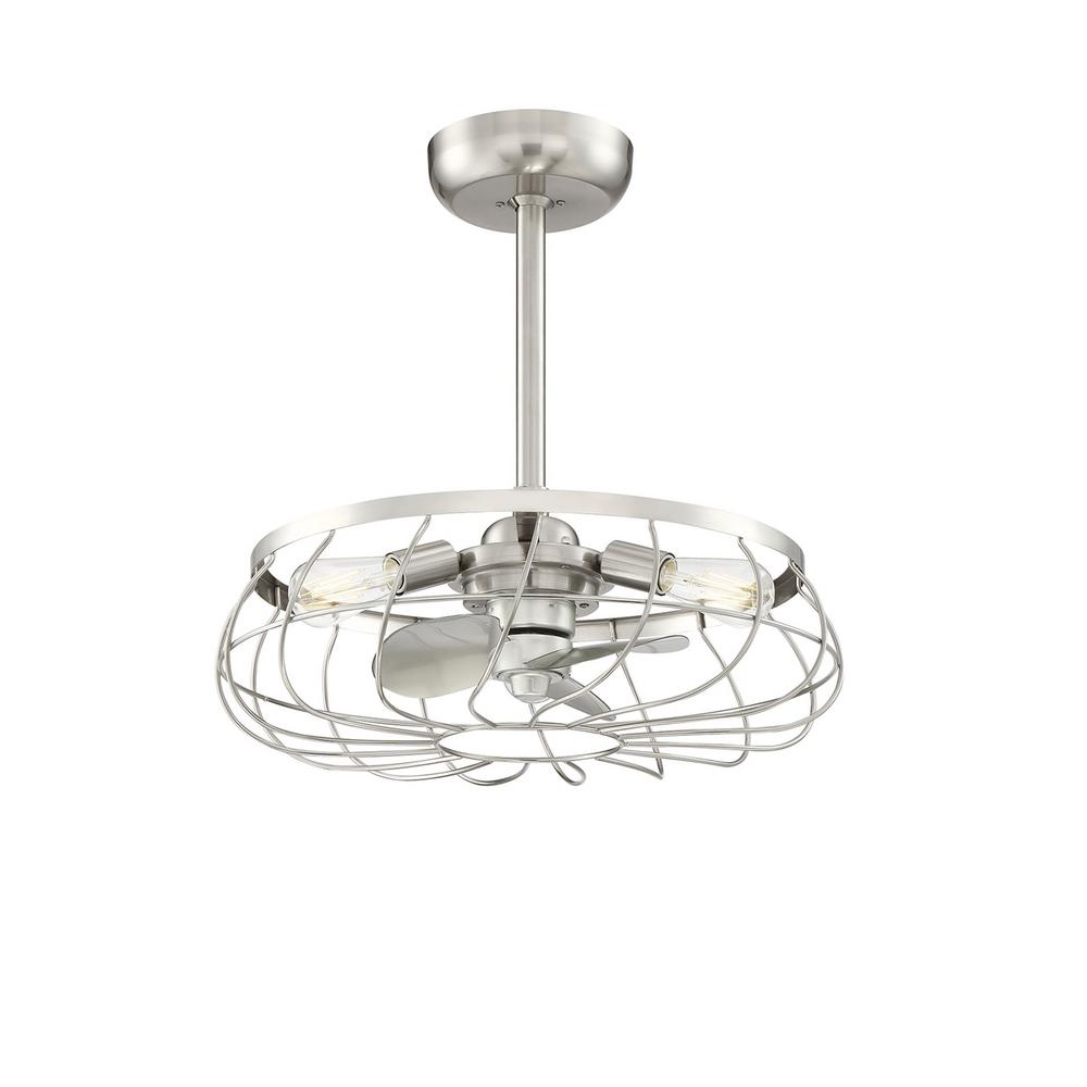 Fifth and Main Lighting Santiago 21.63 in. Indoor Brushed Nickel Ceiling Fan with Light and Remote Control