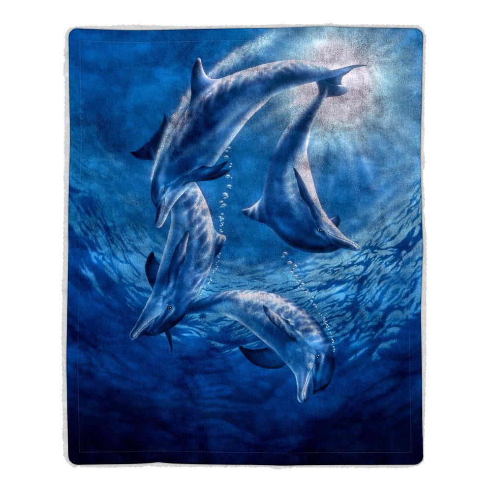 Lavish Home Ocean Dolphin Print Sherpa Fleece Blanket-64-DOLPHINS ...