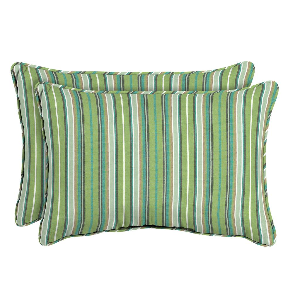 Home Decorators Collection Sunbrella Foster Surfside Oversized Lumbar Outdoor Throw Pillow (2-Pack)