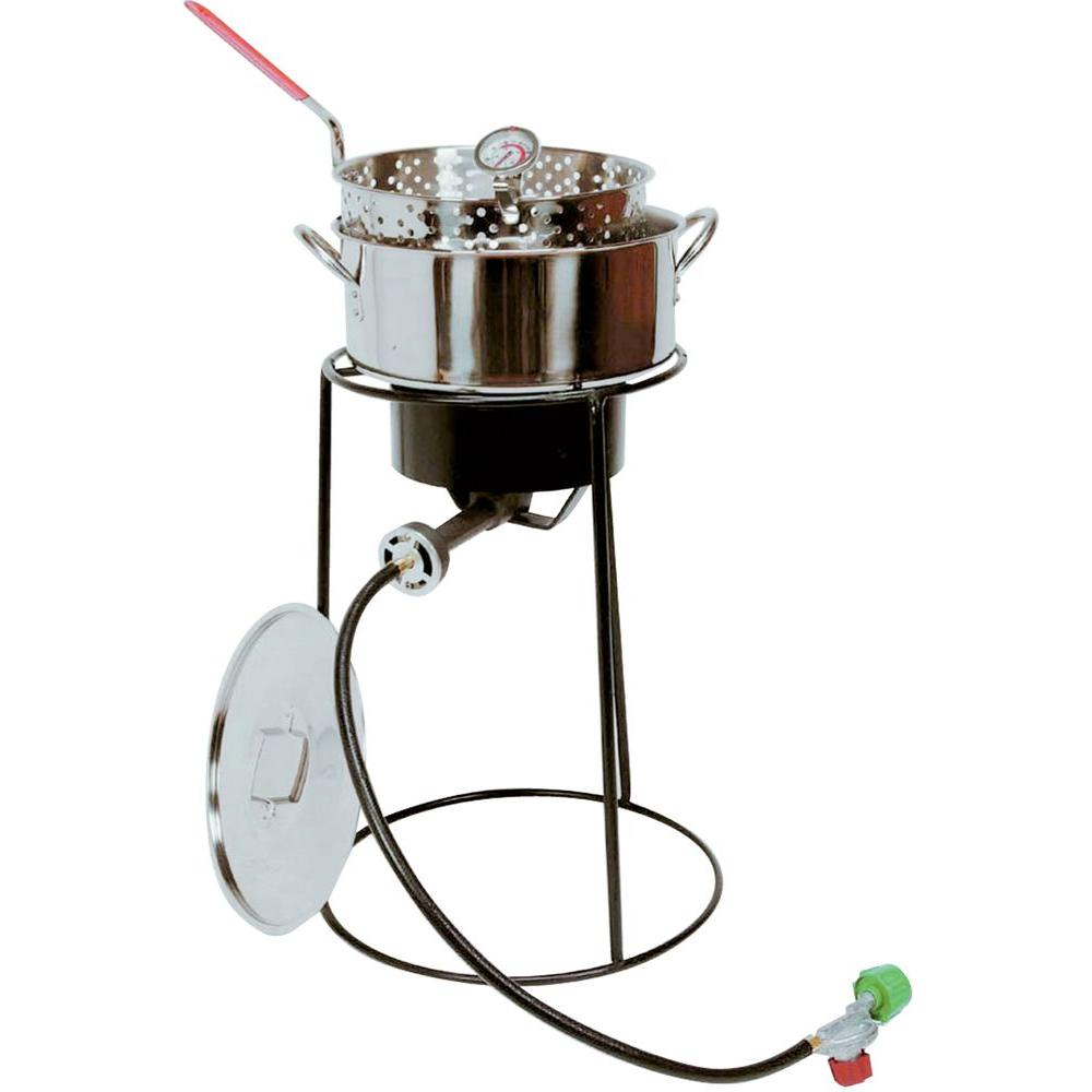 54,000 BTU Portable Propane Gas Outdoor Cooker with Stainless Steel Fry