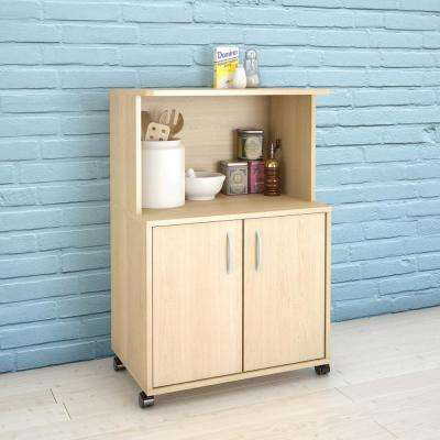 Natural Maple Kitchen Cart with Storage Cabinet