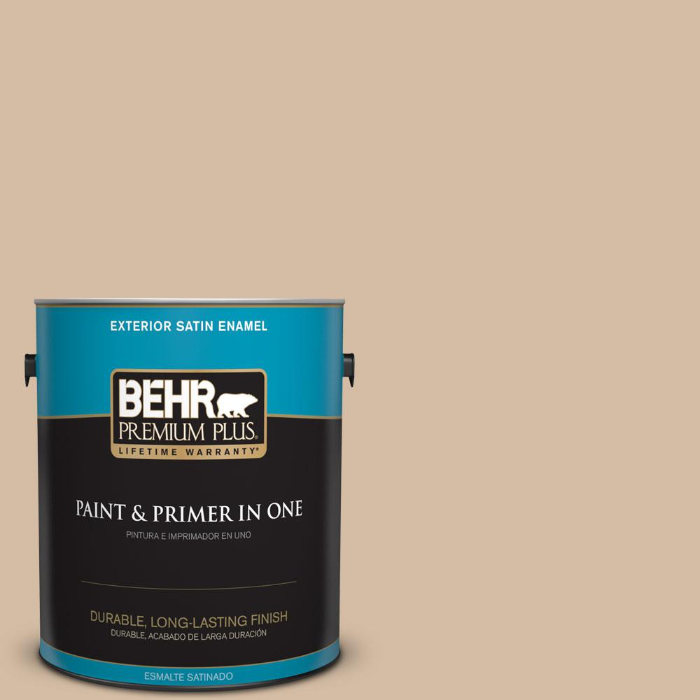 BEHR Premium Plus 1-gal. #PWL-86 Nutty Beige Satin Enamel Exterior Paint