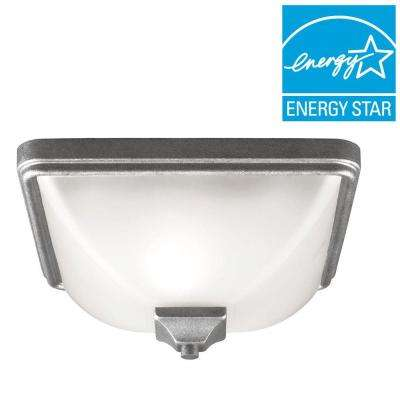 Irving Park 1-Light Outdoor Weathered Pewter Fluorescent Ceiling Flushmount with Satin Etched Glass