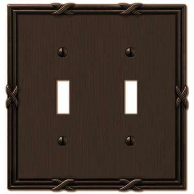 Ribbon and Reed 2 Toggle Wall Plate - Aged Bronze