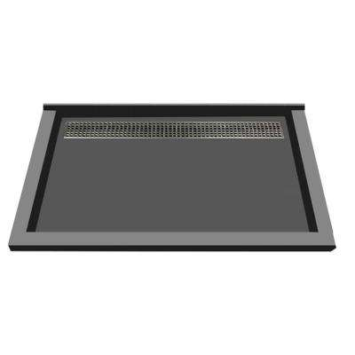 48 in. x 72 in. Triple Threshold Shower Base in Gray with Back Drain and Brused Nickel Trench Grate