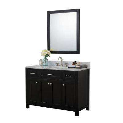 Redmond 48 in. W x 22 in. D Bath Vanity in Espresso with Marble Vanity Top in White with White Basin and Mirror