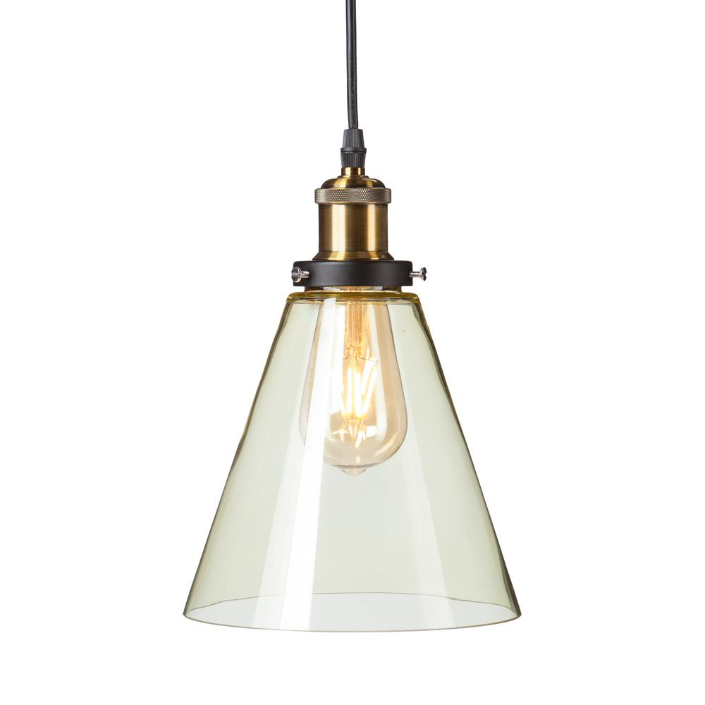 Murphy 1-Light Champagne Amber Colored Glass Mini Pendant Lamp