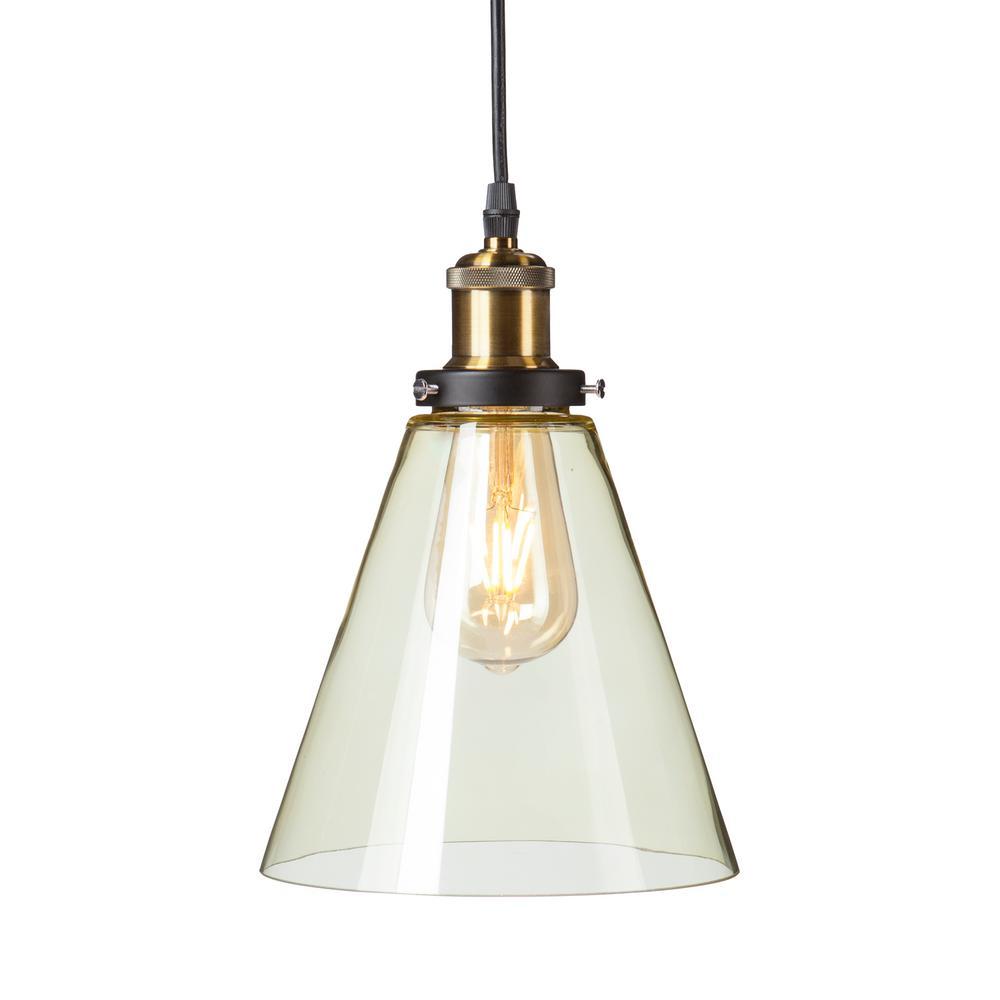 Murphy 1-Light Champagne Amber Colored Glass Mini Pendant Lamp