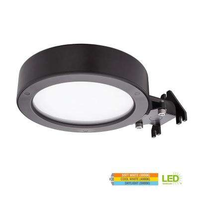 11 in. 40-Watt Bronze Integrated LED Flushmount Outdoor Security Area Light with Color Selectable Feature