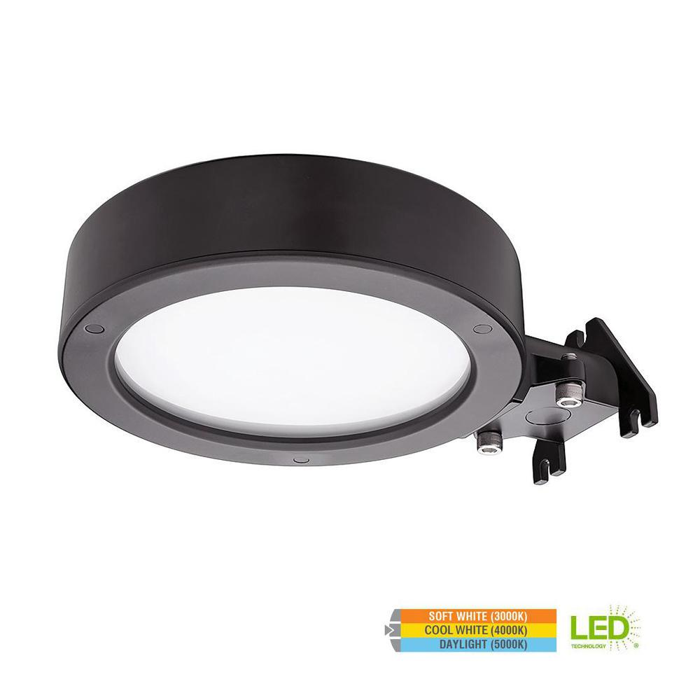 ETi 11 in. 40-Watt Bronze Integrated LED Flush Mount Outdoor Security Area Light with Color Selectable Feature