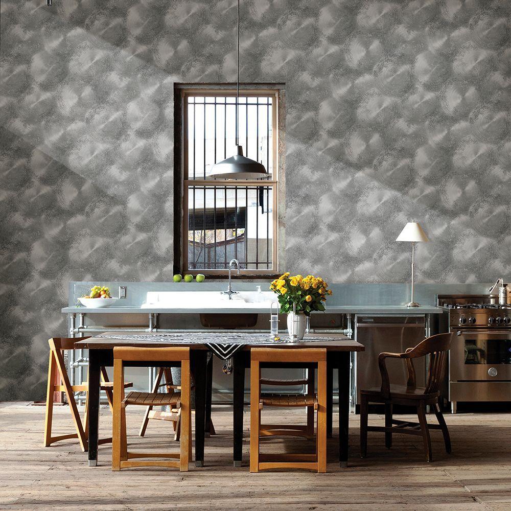 Pewter Tarnished Metal Metallic Texture Wallpaper Sample