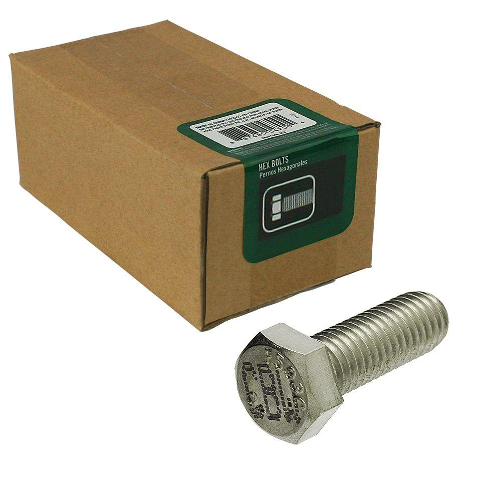 Everbilt 3/8 in. -16 tpi x 1 in. Stainless Steel Hex Bolt (25-Piece per Box)
