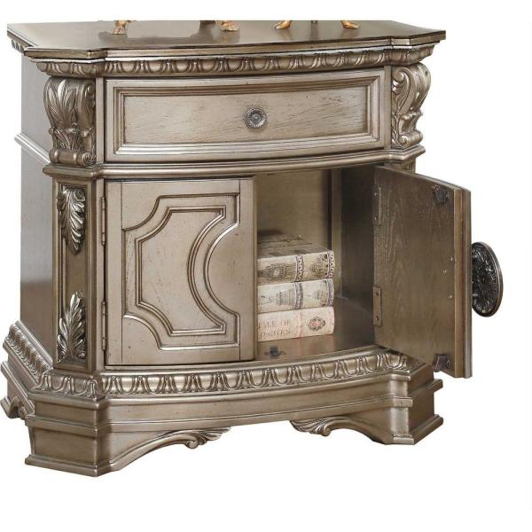 Amelia 1-Drawer 18 in. x 30 in. x 29 in. Champagne Wood Poly Resin Nightstand