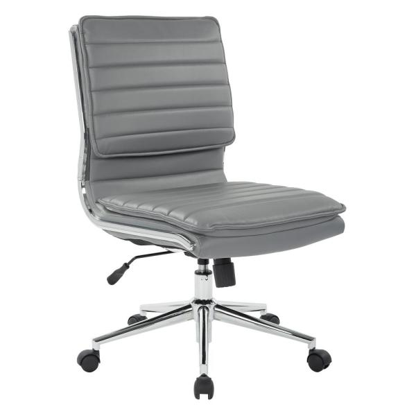Armless Mid Back Manageru0027s Faux Leather Chair In Charcoal With Chrome Base