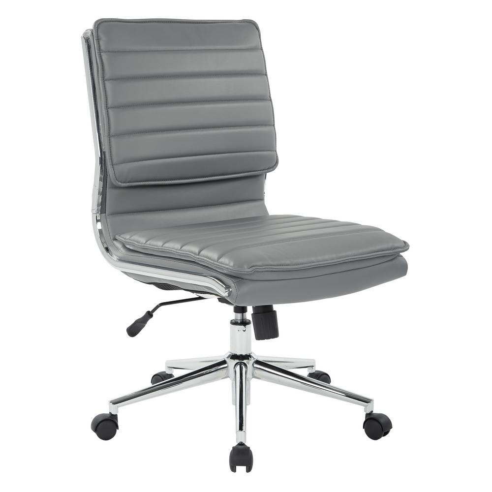 Armless Mid Back Manager S Faux Leather Chair In Charcoal With Chrome