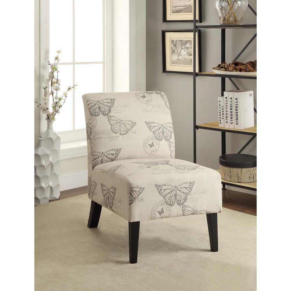 Linon Home Decor Eucalyptus Dark Espresso Linen Accent Chair