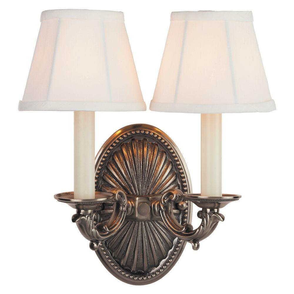 World Imports 2 Light Pewter Sconce Wi620817 The Home Depot